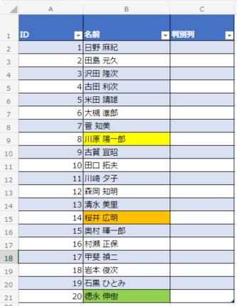 セル色判別エクセル表テーブル化
